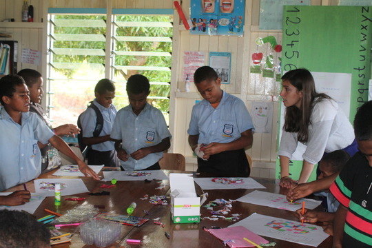 The library area being used for art classes