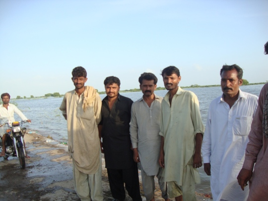 A groups of people ate point of rescue at Jhudo