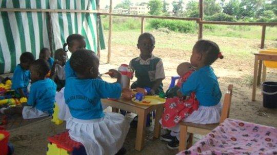 Nursery children under the canopy
