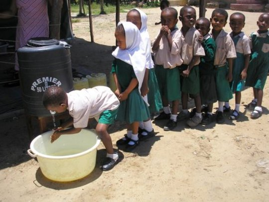 Washing hands before lunch