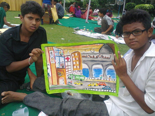 Kids at the painting competition