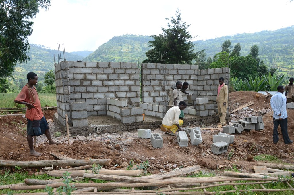 New ORBIS funded latrine being built at the school