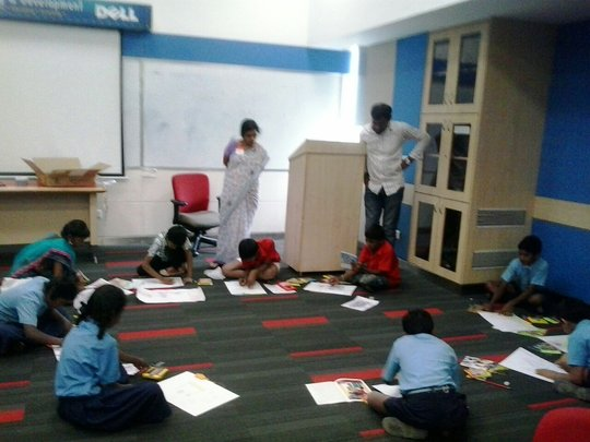 Students involved in creative drawing