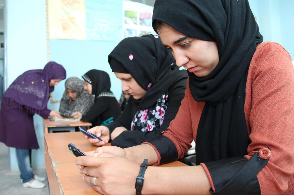 Girls in a Mobile Literacy Class