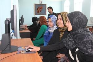 Girls in an AIL Computer Class