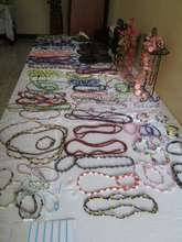 Jewelry made by the girls on display at the fair!