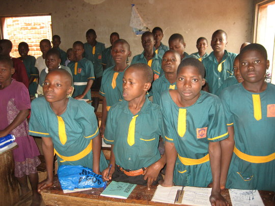 In the classroom at Future Victory School