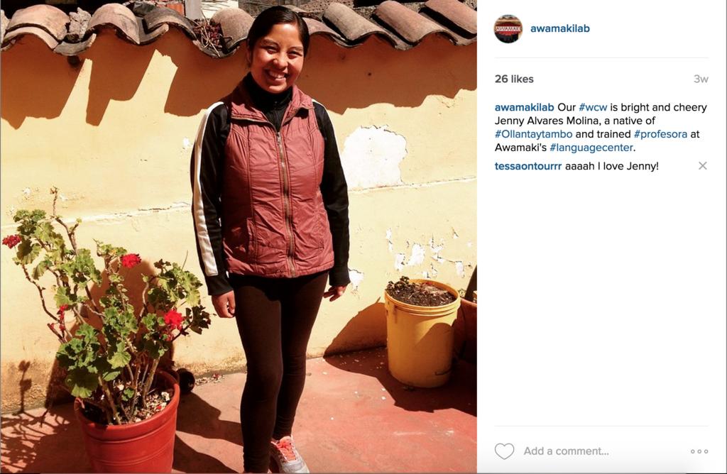 The instagram #wcw of Jenny.