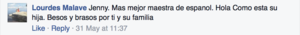 Comment from Lourdes Malave on Facebook