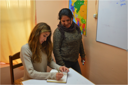Aby, a Spanish Teacher applying her training
