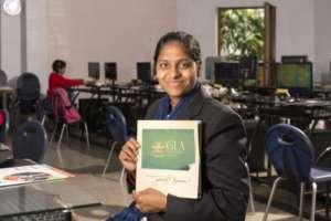Anusuya and her GLA certificate