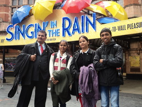 Pushpa in the UK with her teachers