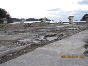 Destroyed main street and piers without a road