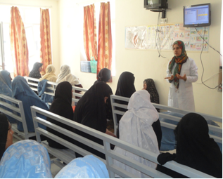 A midwife during the Health Education Session