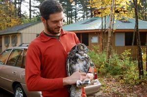 Biodiversity Research Institute checks transmitter