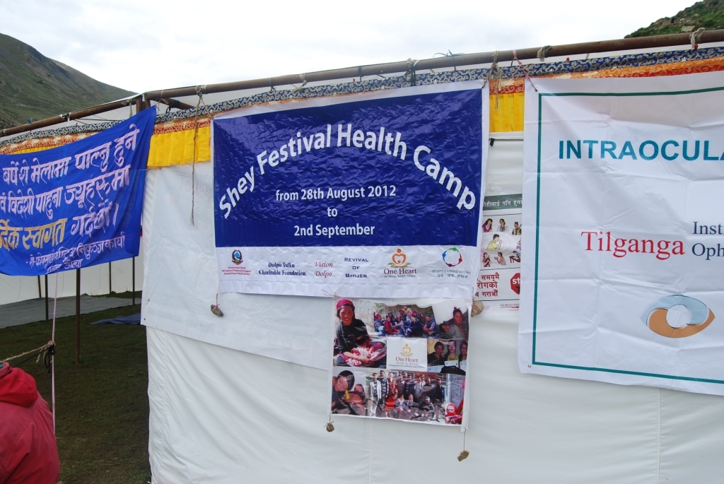 Banner at the Shey Festival Medical Camp