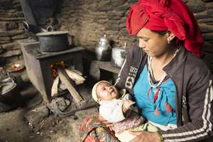 Mother and Baby at Home in Dolpa