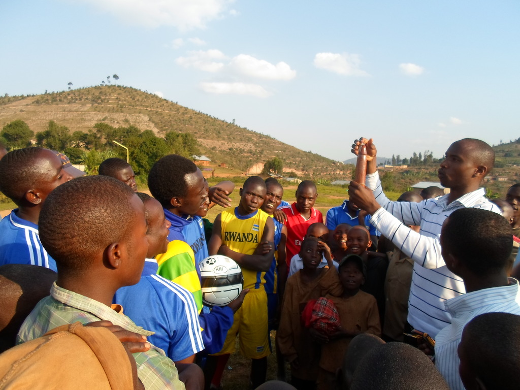 HIV awareness Director doing Condom demonstration