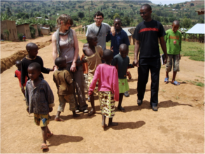 Project Volunteers with children of local village