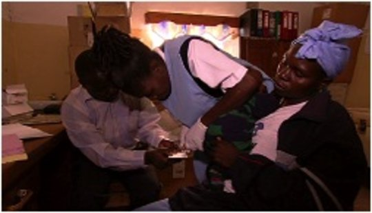 A mother being tested for HIV
