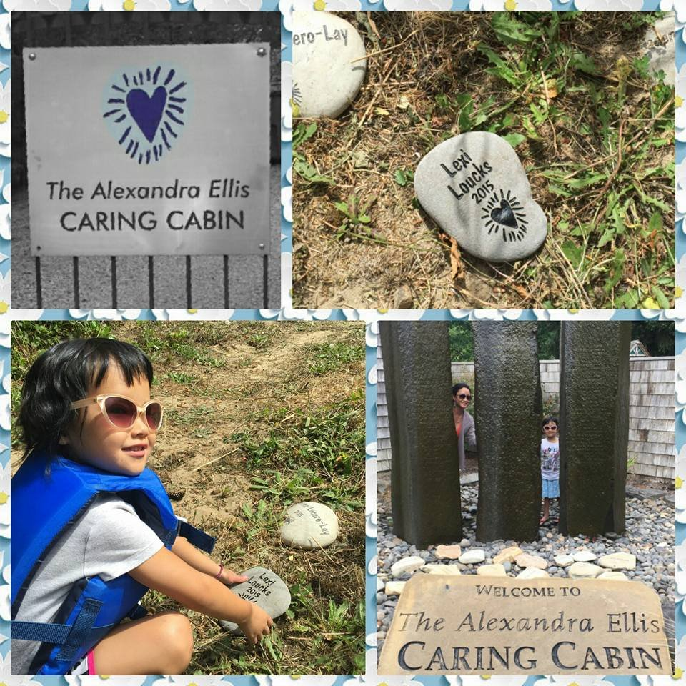 Lexi places her memorial stone at the Caring Cabin