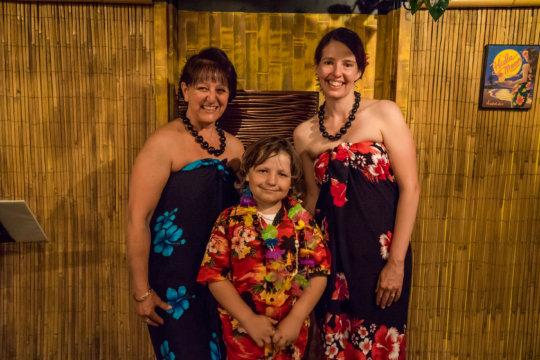Mason and the hula dancers
