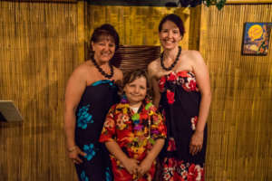 Mason and the hula dancers