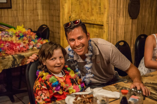 Mason and his Chemo Pal Kiva at the luau