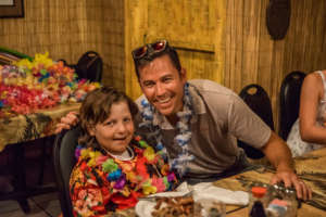 Mason and his Chemo Pal Kiva at the luau