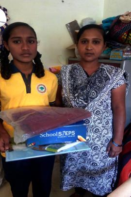 Manisha and Mansi with new school stationery