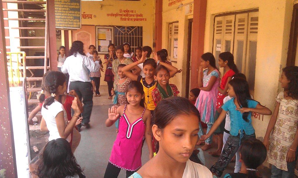 Girls participate in theater workshop