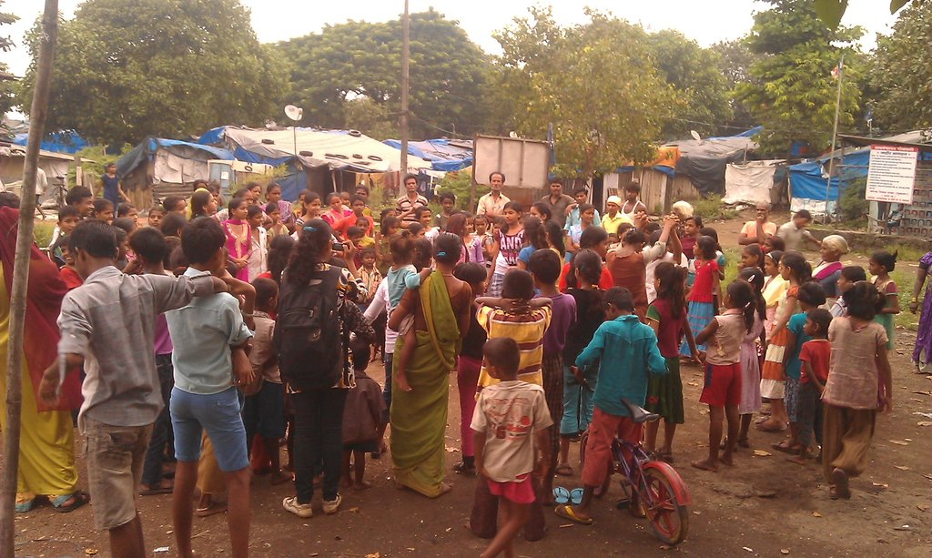 Girls perform street theater