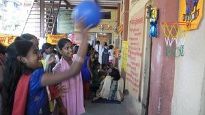 Girls enjoying games at Fair