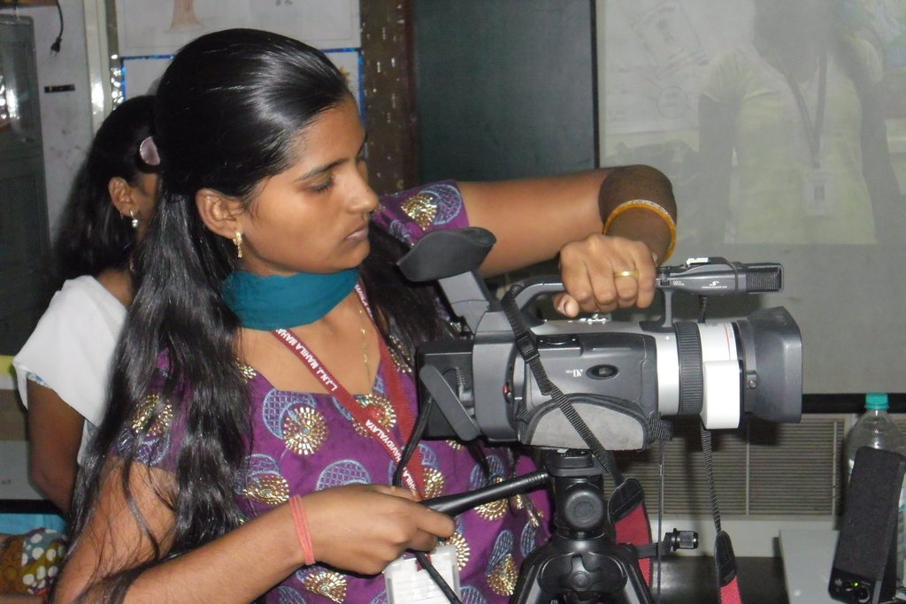 Calling Shots- Girls learn videography. Vacha encourages girls to document their own reality and equips them with required skills through workshops in photography, videography and writing. Such documentation is used for advocacy purposes