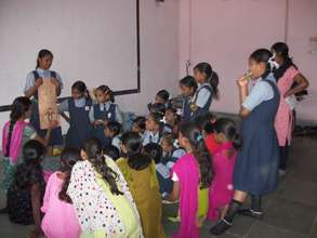 Girls participate in a health session