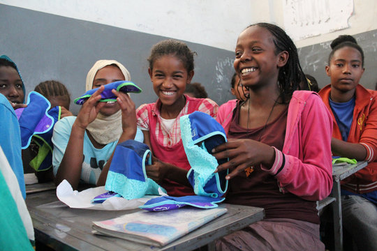 Girls in Ethiopia open their Be Girl products