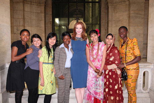Marcia Cross with Plan Youth Ambassadors