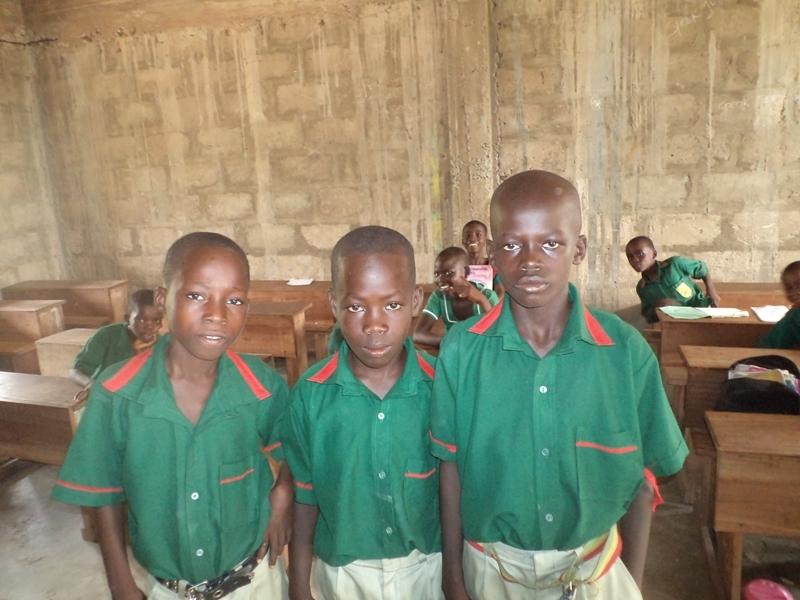 Samuel, Evans and Benjamin now in school