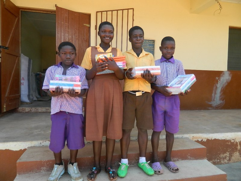sponsored kids excited to receive their books