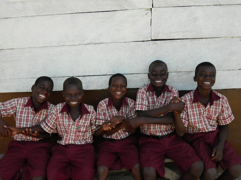 some newly rescued kids very excited in school