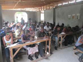 Students taking their placement exams