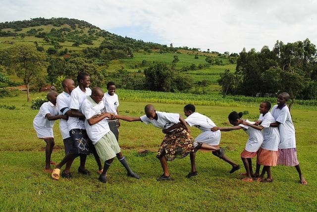 Girls playing tug-of-war