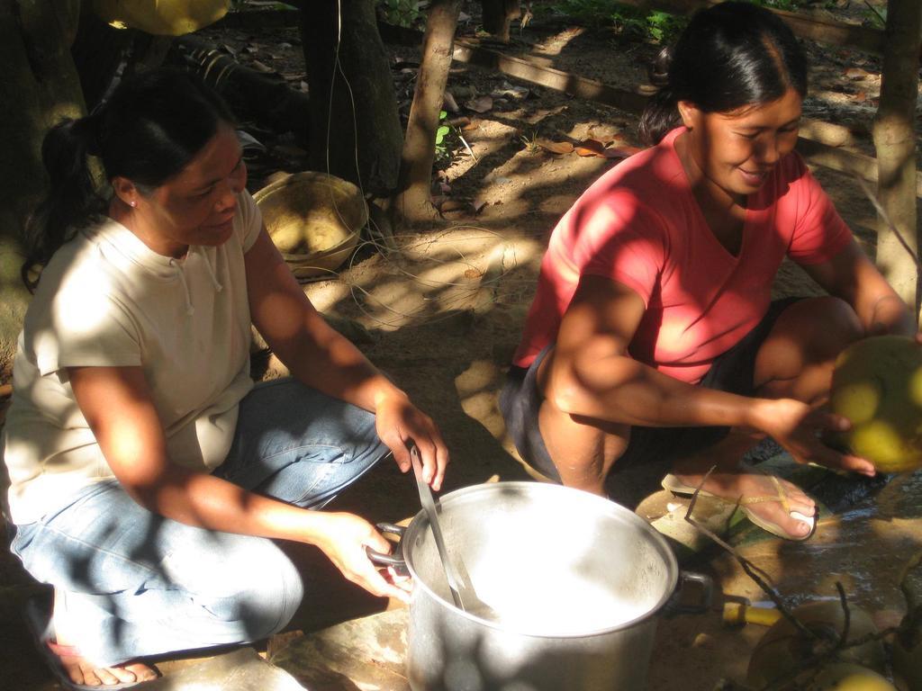 Preparing refreshing coconut juice