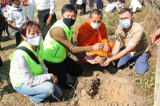 Planting seedlings around the former minefield.