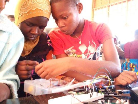 Girls in robotics club