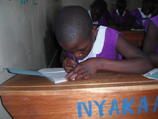 A Nyaka Primary student working on her lesson.