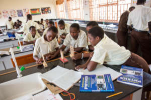 Students applying STEM in the classroom