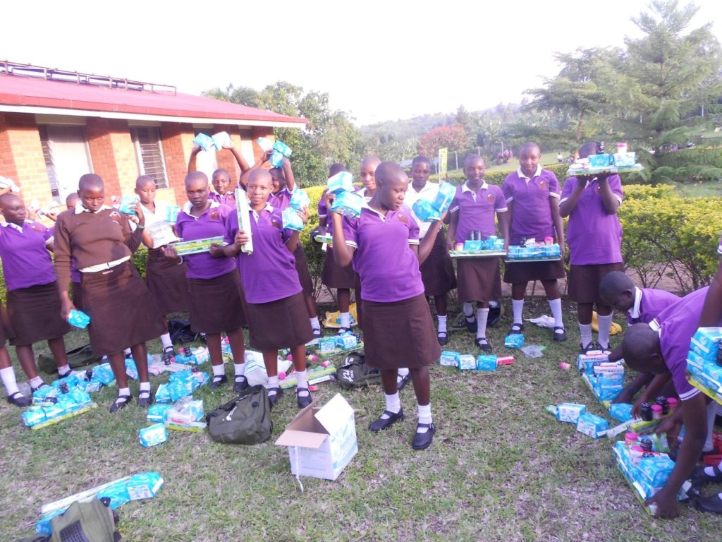 Girls received their hygiene products