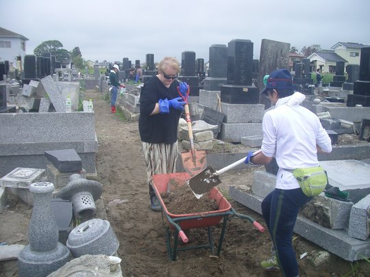 Debris Cleaning at a Cemetery