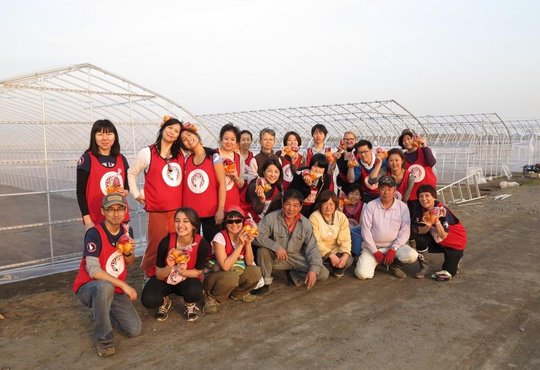 Yamamoto-cho. Helping out building green houses.